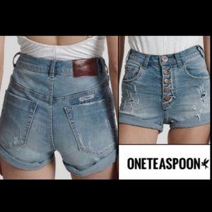 One X One Teaspoon Harlets High Rise Waist Shorts